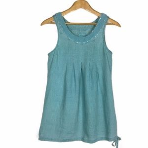 Tops - Long Teal Pure Linen Sequined Tunic Tank Top Dress